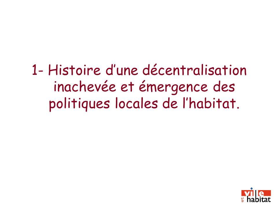 1- Histoire dune décentralisation inachevée et émergence des politiques locales de lhabitat.