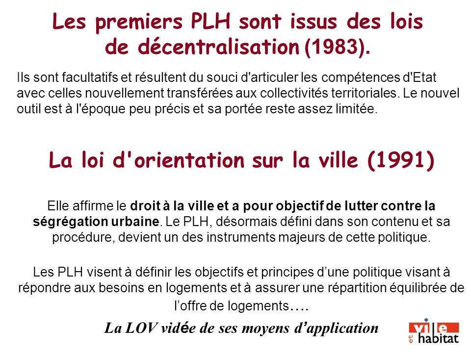 Les premiers PLH sont issus des lois de décentralisation (1983). Ils sont facultatifs et résultent du souci d'articuler les compétences d'Etat avec ce