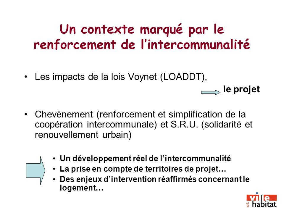 Un contexte marqué par le renforcement de lintercommunalité Les impacts de la lois Voynet (LOADDT), le projet Chevènement (renforcement et simplificat