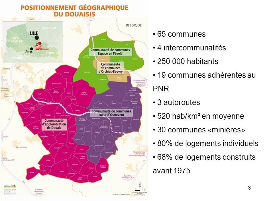 3 65 communes 4 intercommunalités 250 000 habitants 19 communes adhérentes au PNR 3 autoroutes 520 hab/km² en moyenne 30 communes «minières» 80% de logements individuels 68% de logements construits avant 1975