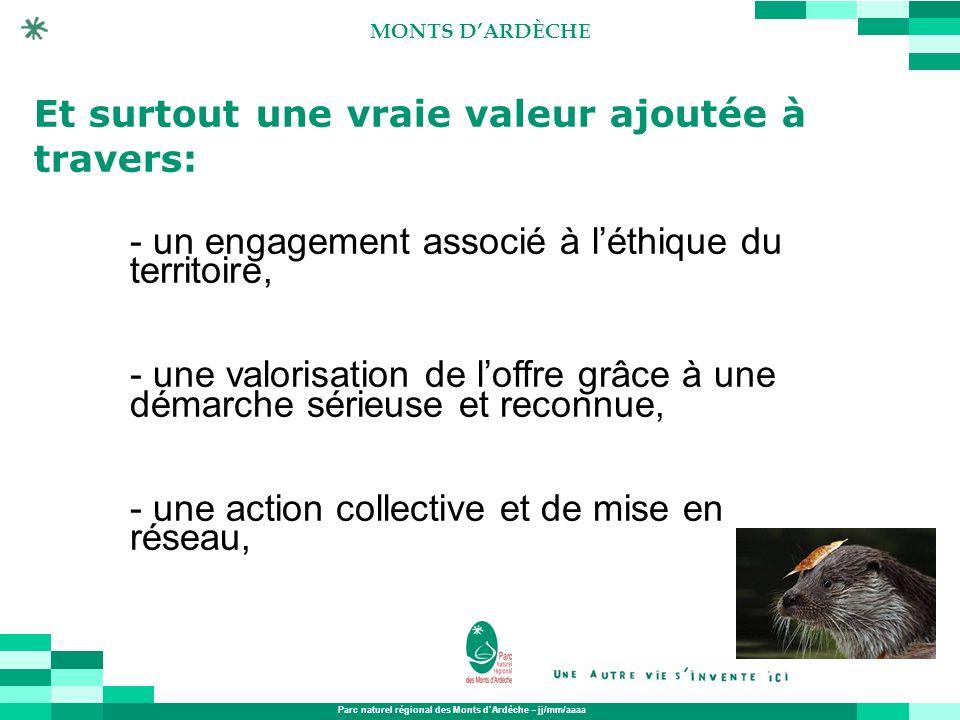 Parc naturel régional des Monts dArdèche – jj/mm/aaaa MONTS DARDÈCHE Et surtout une vraie valeur ajoutée à travers: - un engagement associé à léthique