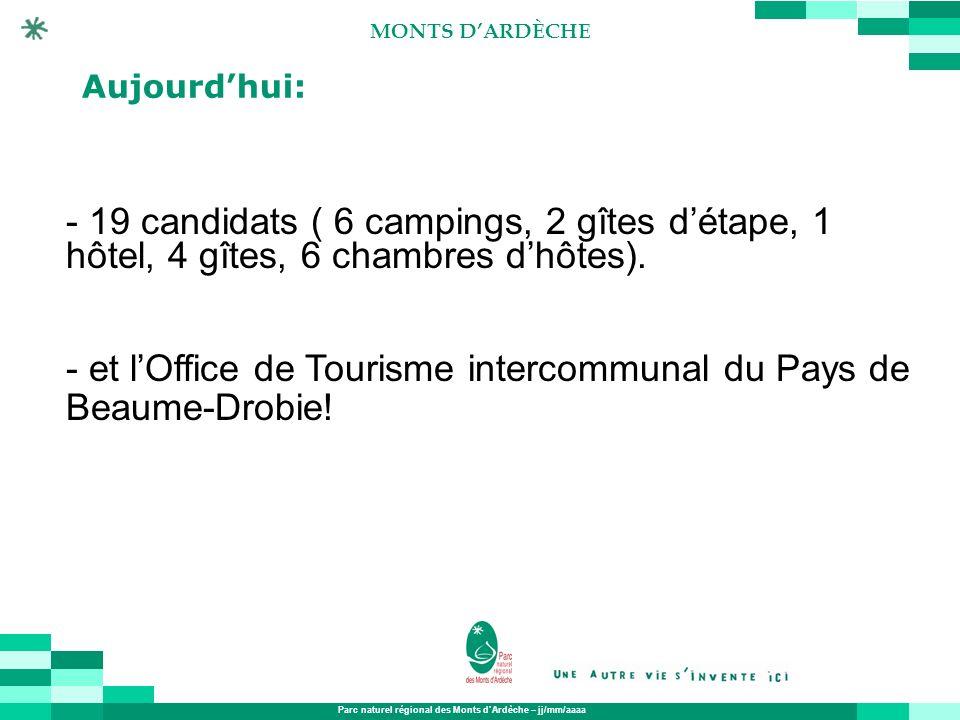 Parc naturel régional des Monts dArdèche – jj/mm/aaaa MONTS DARDÈCHE Aujourdhui: - 19 candidats ( 6 campings, 2 gîtes détape, 1 hôtel, 4 gîtes, 6 cham