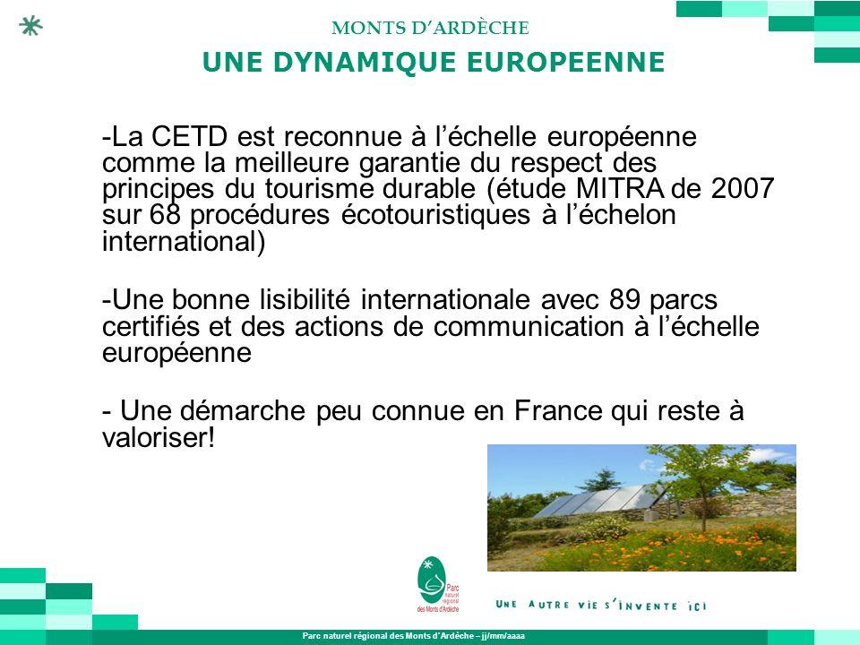 Parc naturel régional des Monts dArdèche – jj/mm/aaaa MONTS DARDÈCHE -La CETD est reconnue à léchelle européenne comme la meilleure garantie du respec