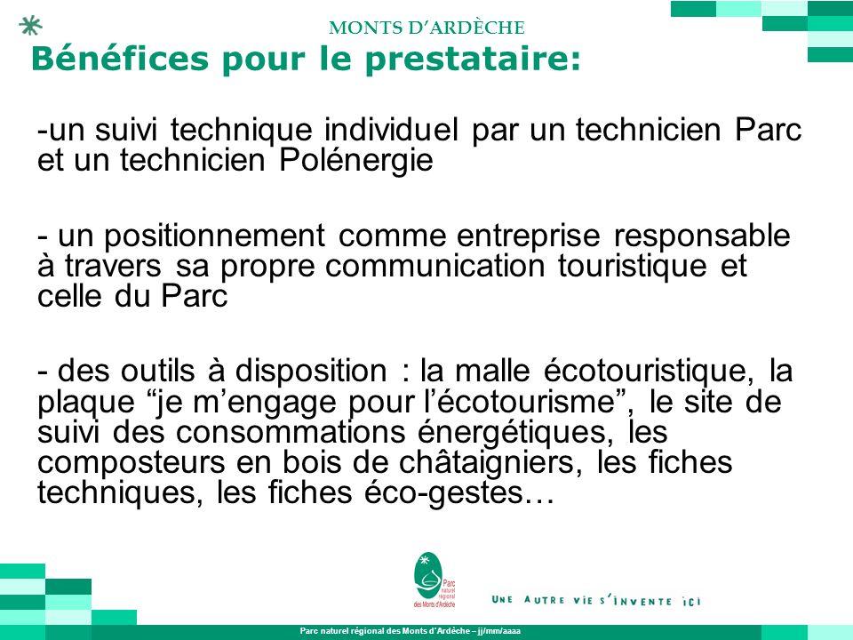 Parc naturel régional des Monts dArdèche – jj/mm/aaaa MONTS DARDÈCHE Bénéfices pour le prestataire: -un suivi technique individuel par un technicien P