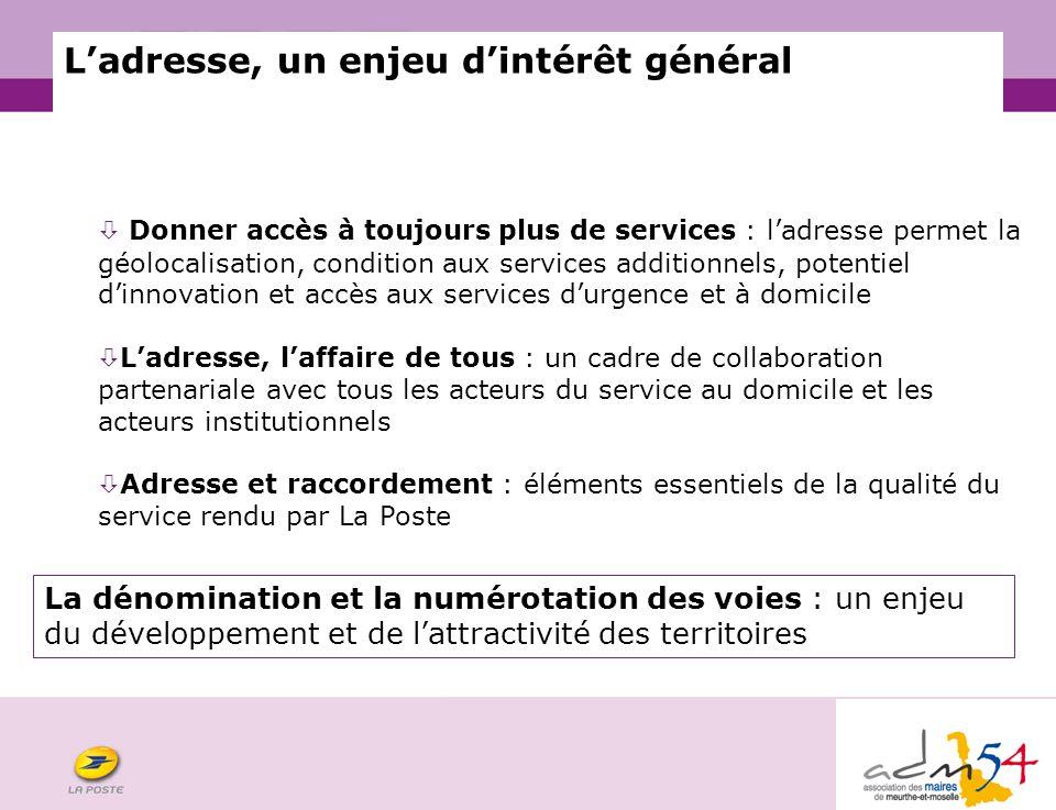 COURRIER Ladresse, un enjeu dintérêt général Donner accès à toujours plus de services : ladresse permet la géolocalisation, condition aux services add