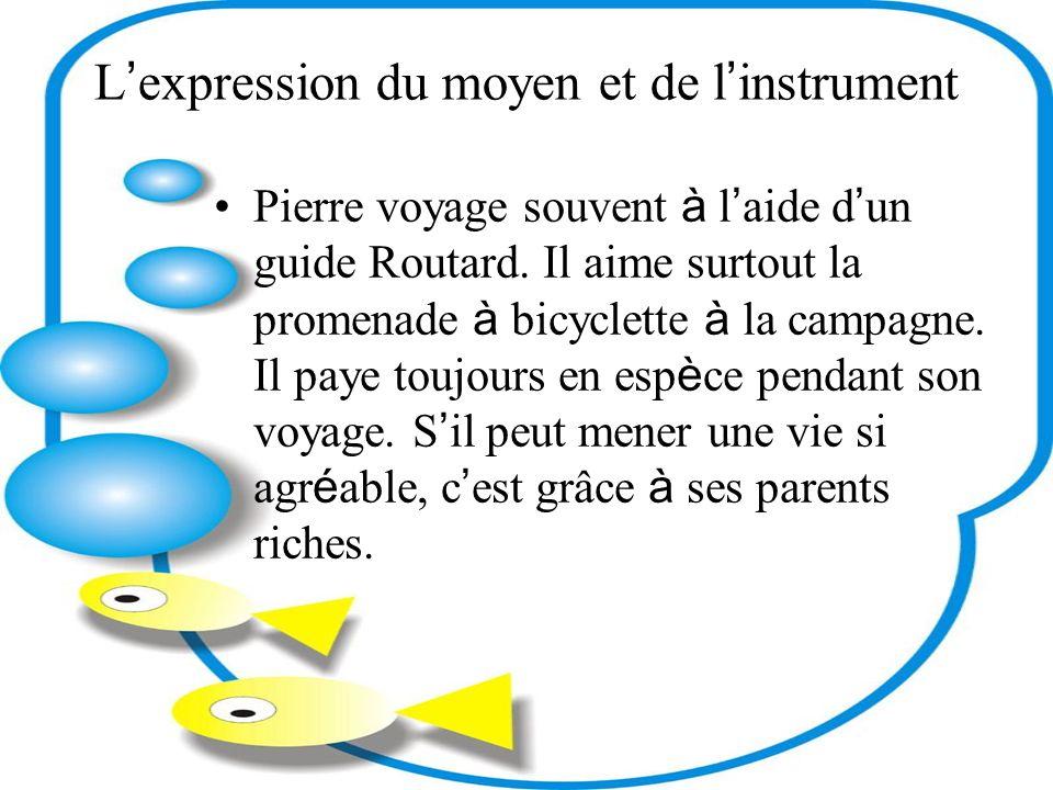 L expression du moyen et de l instrument Pierre voyage souvent à l aide d un guide Routard.