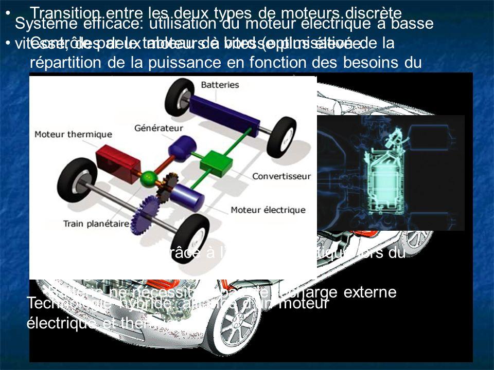 La technologie hybride Technologie hybride: alliance dun moteur électrique et thermique Système efficace: utilisation du moteur électrique à basse vit