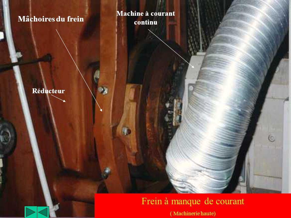 Deux machines à courant continu assurent le levage de la nacelle ( Puissance : 2 x 52 kW ) Machine à courant continu ( Machinerie haute)