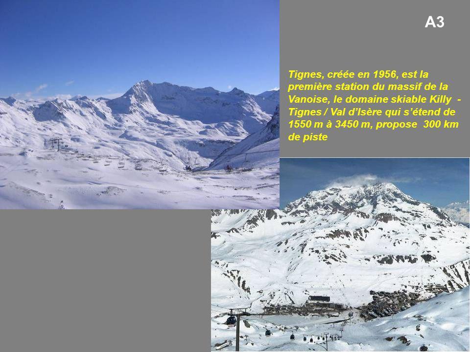 A3 Tignes, créée en 1956, est la première station du massif de la Vanoise, le domaine skiable Killy - Tignes / Val dIsère qui sétend de 1550 m à 3450 m, propose 300 km de piste