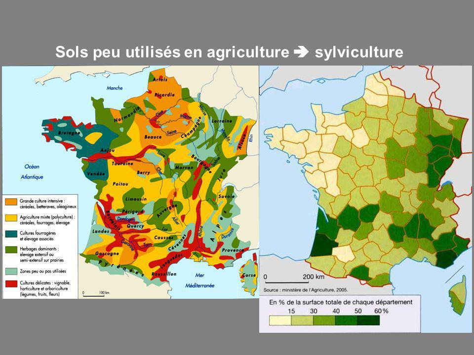Sols peu utilisés en agriculture sylviculture