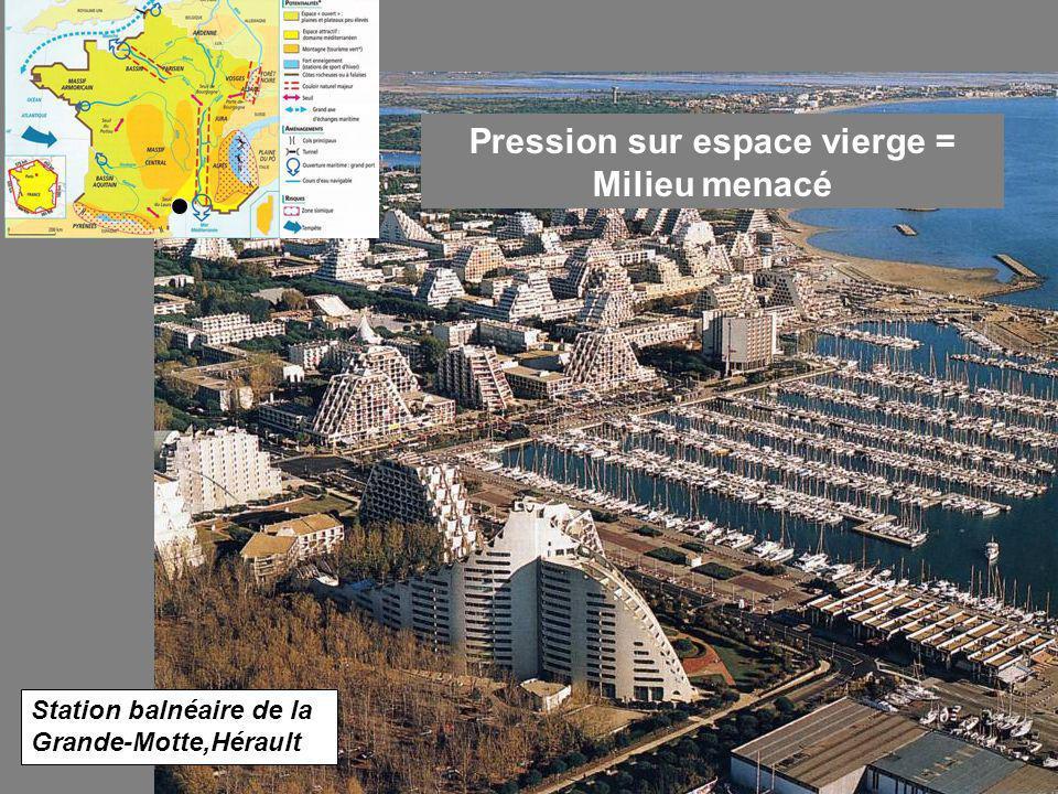 Station balnéaire de la Grande-Motte,Hérault Pression sur espace vierge = Milieu menacé