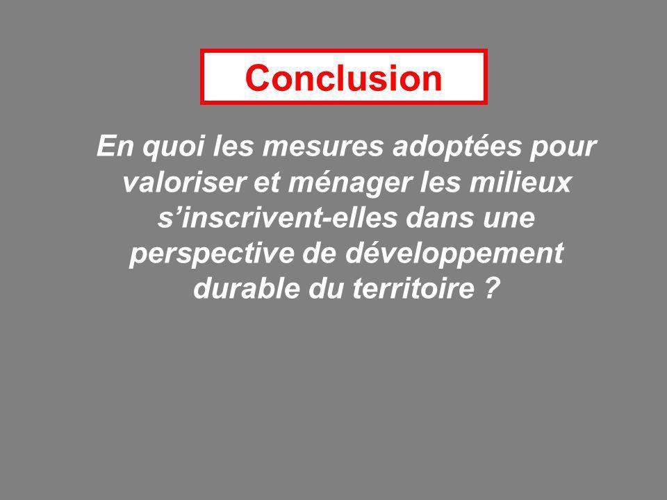 Conclusion En quoi les mesures adoptées pour valoriser et ménager les milieux sinscrivent-elles dans une perspective de développement durable du territoire ?