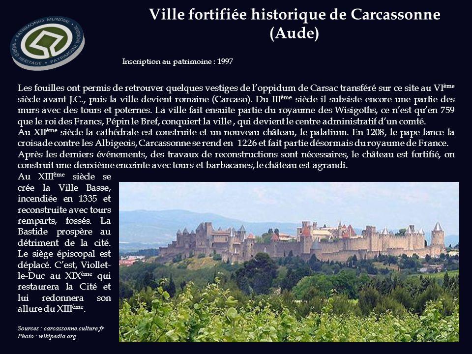Sources : carcassonne.culture.fr Photo : wikipedia.org Inscription au patrimoine : 1997 Les fouilles ont permis de retrouver quelques vestiges de loppidum de Carsac transféré sur ce site au VI ème siècle avant J.C., puis la ville devient romaine (Carcaso).