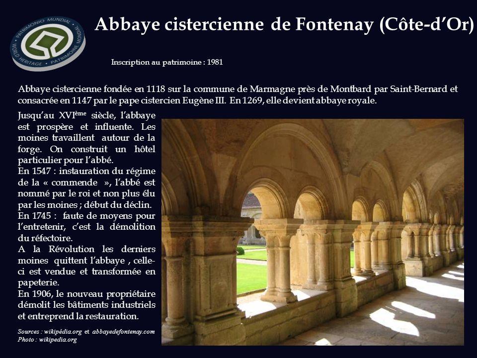 Abbaye cistercienne fondée en 1118 sur la commune de Marmagne près de Montbard par Saint-Bernard et consacrée en 1147 par le pape cistercien Eugène III.