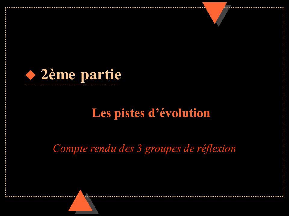 u 2ème partie Les pistes dévolution Compte rendu des 3 groupes de réflexion