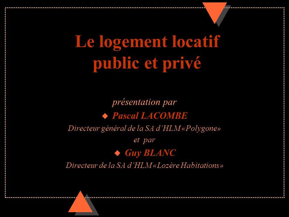 Le logement locatif public et privé présentation par u Pascal LACOMBE Directeur général de la SA dHLM «Polygone» et par u Guy BLANC Directeur de la SA