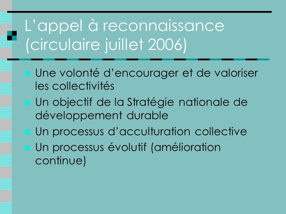 Lappel à reconnaissance (circulaire juillet 2006) Une volonté dencourager et de valoriser les collectivités Un objectif de la Stratégie nationale de développement durable Un processus dacculturation collective Un processus évolutif (amélioration continue)