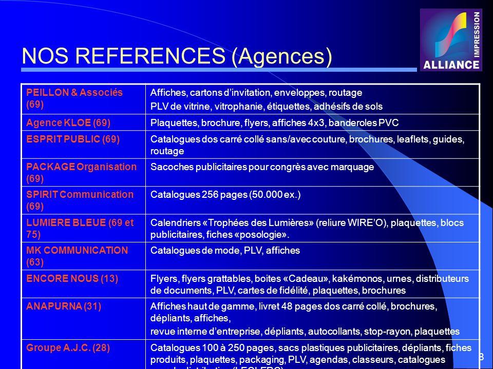 8 NOS REFERENCES (Agences) PEILLON & Associés (69) Affiches, cartons dinvitation, enveloppes, routage PLV de vitrine, vitrophanie, étiquettes, adhésif