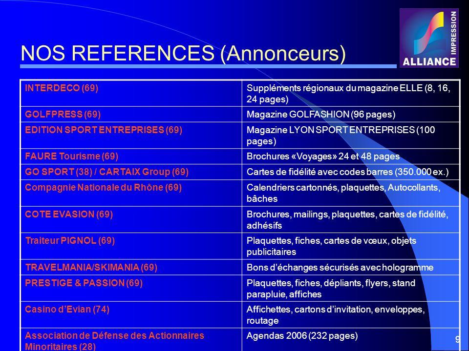 9 NOS REFERENCES (Annonceurs) INTERDECO (69)Suppléments régionaux du magazine ELLE (8, 16, 24 pages) GOLFPRESS (69)Magazine GOLFASHION (96 pages) EDIT