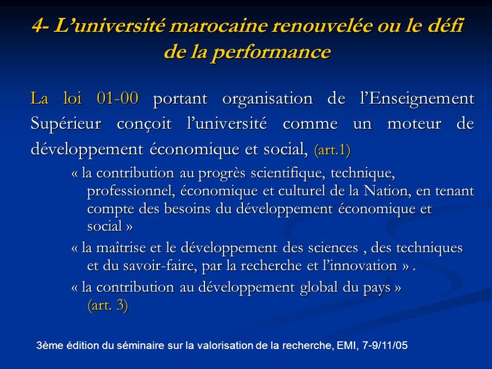 4- Luniversité marocaine renouvelée ou le défi de la performance (suite) Luniversité Marocaine est actuellement dans une phase de transition prometteuse grâce à : linstauration de la réforme pédagogique pour ladoption du processus de Bologne 1999, (instauration du LMD, de la semestrialisation, de la modularisation, du contrôle continu….) pour un Enseignement Supérieur de qualité.