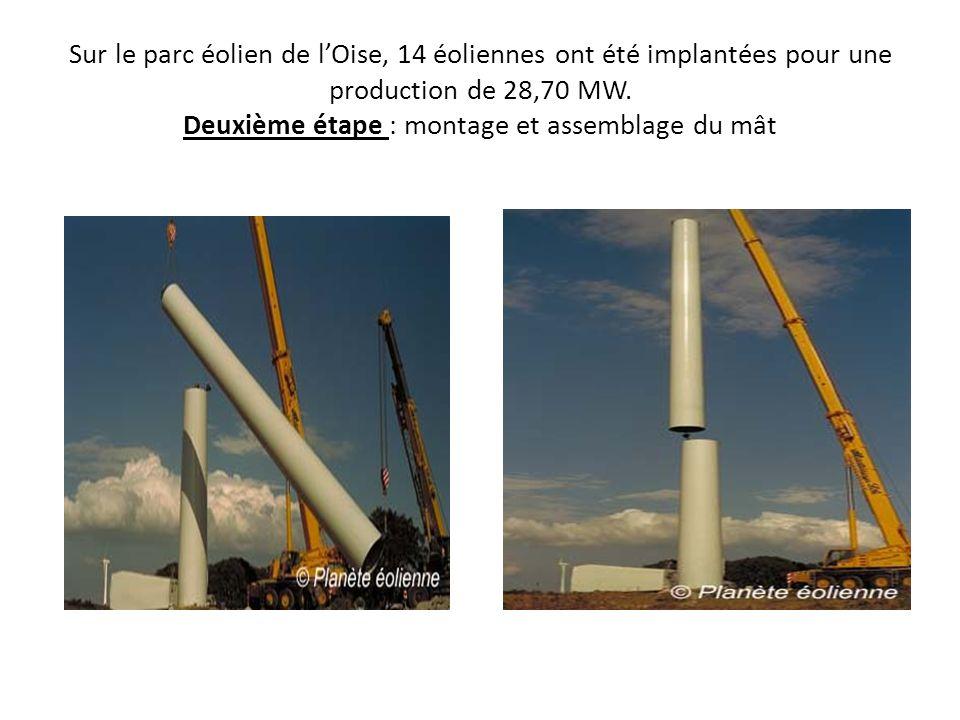 Sur le parc éolien de lOise, 14 éoliennes ont été implantées pour une production de 28,70 MW. Deuxième étape : montage et assemblage du mât