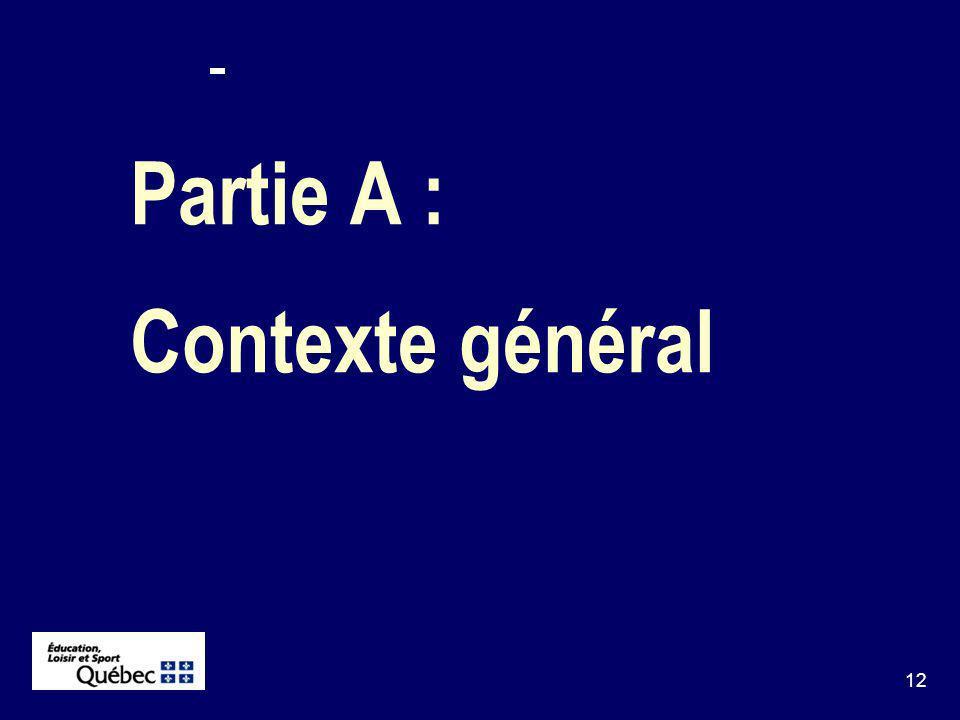 12 Partie A : Contexte général
