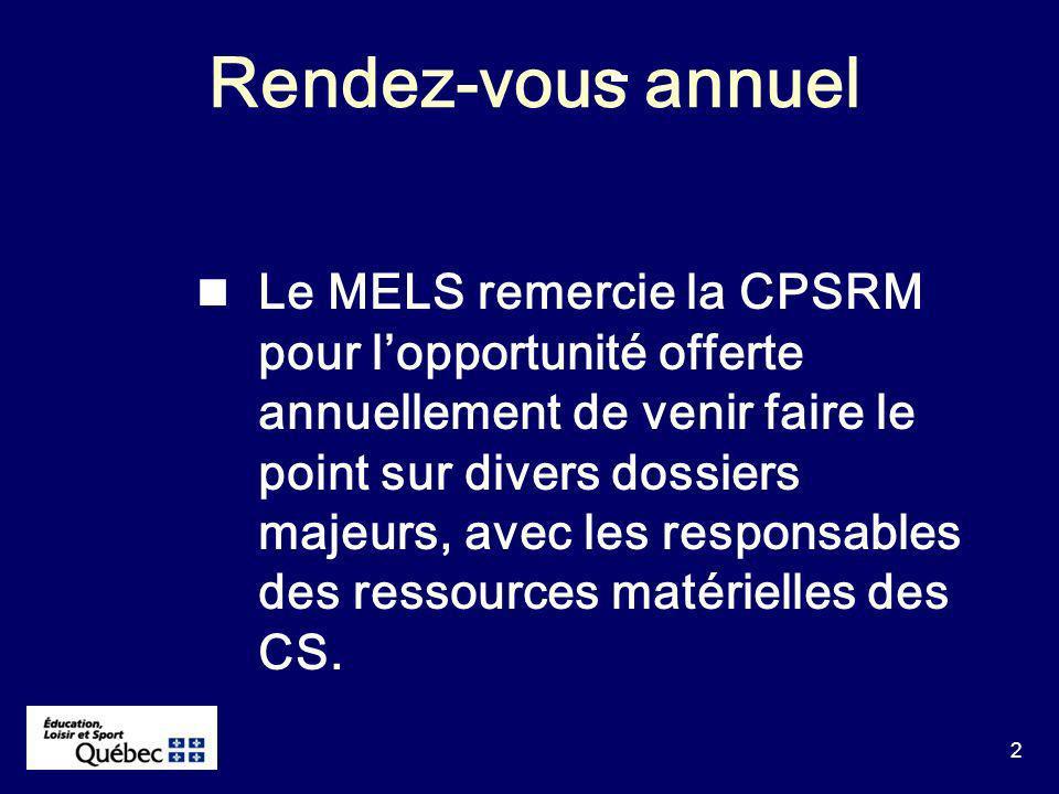 2 Rendez-vous annuel Le MELS remercie la CPSRM pour lopportunité offerte annuellement de venir faire le point sur divers dossiers majeurs, avec les responsables des ressources matérielles des CS.