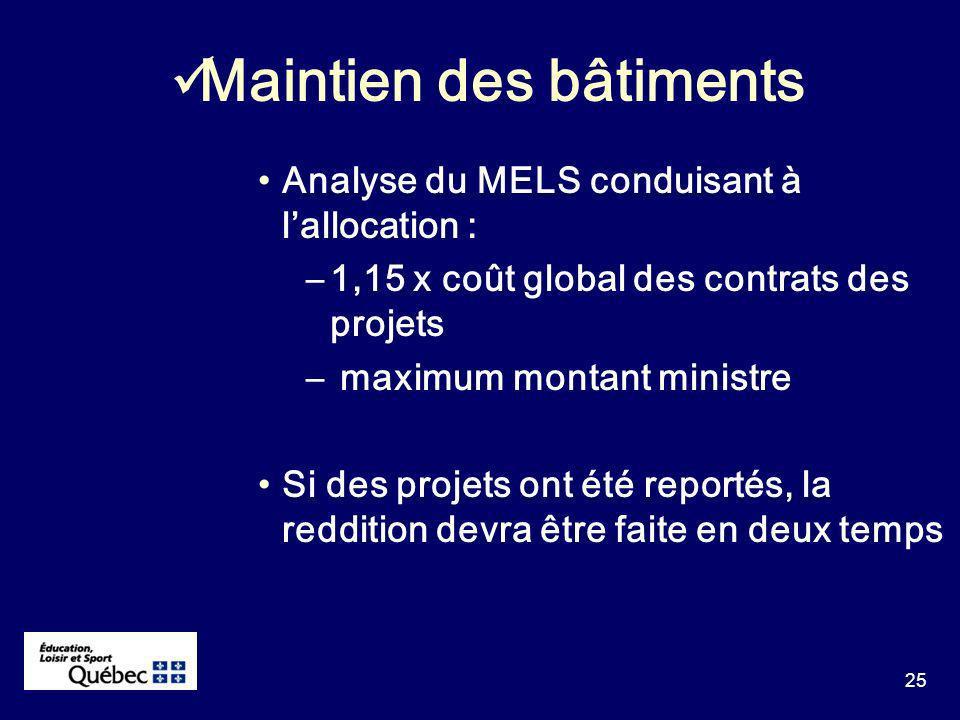 25 Analyse du MELS conduisant à lallocation : –1,15 x coût global des contrats des projets – maximum montant ministre Si des projets ont été reportés, la reddition devra être faite en deux temps Maintien des bâtiments