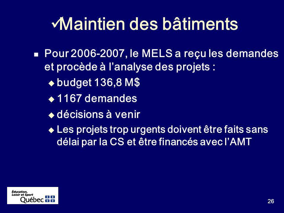 26 Pour 2006-2007, le MELS a reçu les demandes et procède à lanalyse des projets : budget 136,8 M$ 1167 demandes décisions à venir Les projets trop urgents doivent être faits sans délai par la CS et être financés avec lAMT Maintien des bâtiments