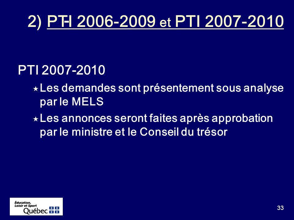 33 PTI 2007-2010 Les demandes sont présentement sous analyse par le MELS Les annonces seront faites après approbation par le ministre et le Conseil du trésor 2) PTI 2006-2009 et PTI 2007-2010