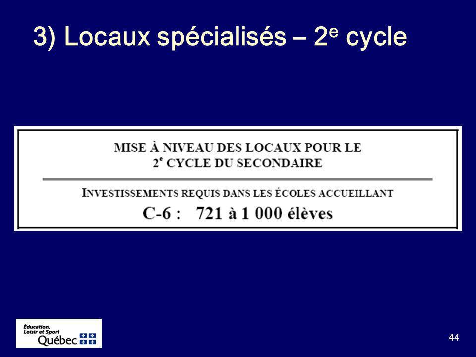 44 3) Locaux spécialisés – 2 e cycle