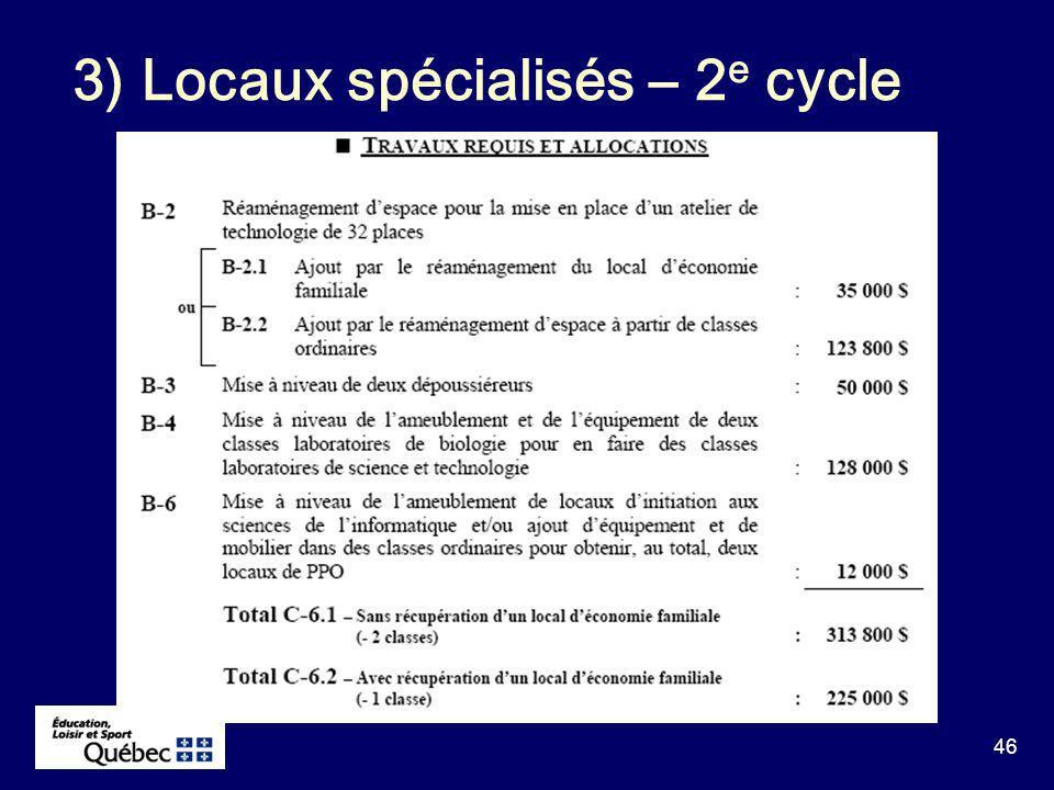 46 3) Locaux spécialisés – 2 e cycle