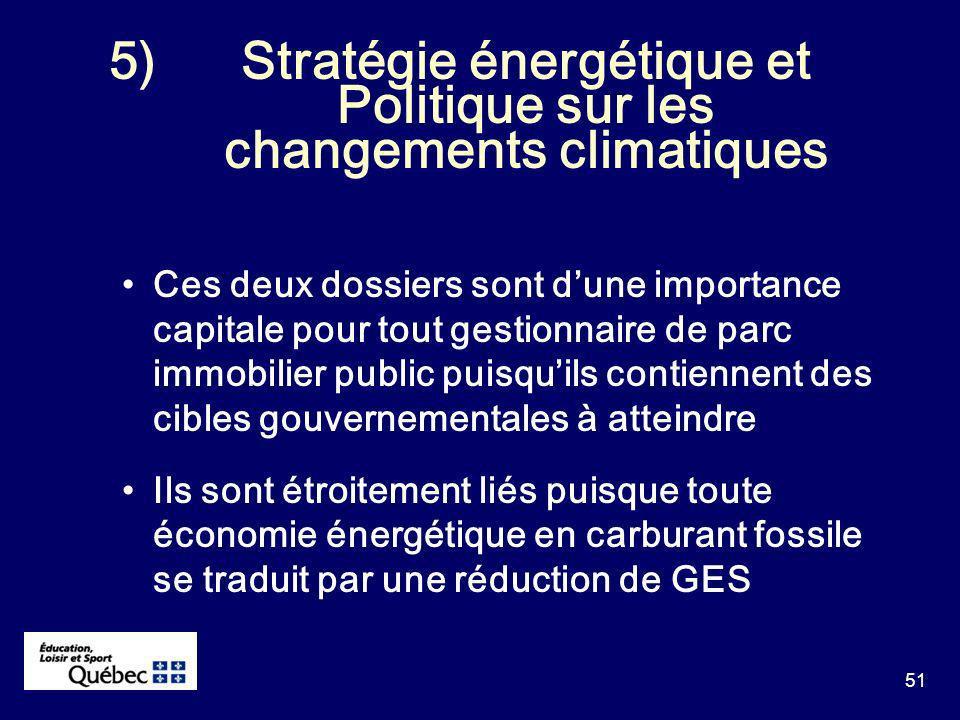51 5)Stratégie énergétique et Politique sur les changements climatiques Ces deux dossiers sont dune importance capitale pour tout gestionnaire de parc immobilier public puisquils contiennent des cibles gouvernementales à atteindre Ils sont étroitement liés puisque toute économie énergétique en carburant fossile se traduit par une réduction de GES