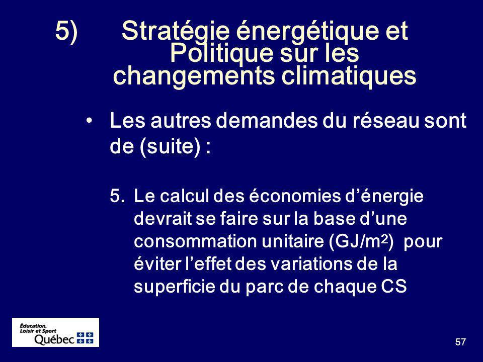 57 5)Stratégie énergétique et Politique sur les changements climatiques Les autres demandes du réseau sont de (suite) : 5.Le calcul des économies dénergie devrait se faire sur la base dune consommation unitaire (GJ/m 2 ) pour éviter leffet des variations de la superficie du parc de chaque CS