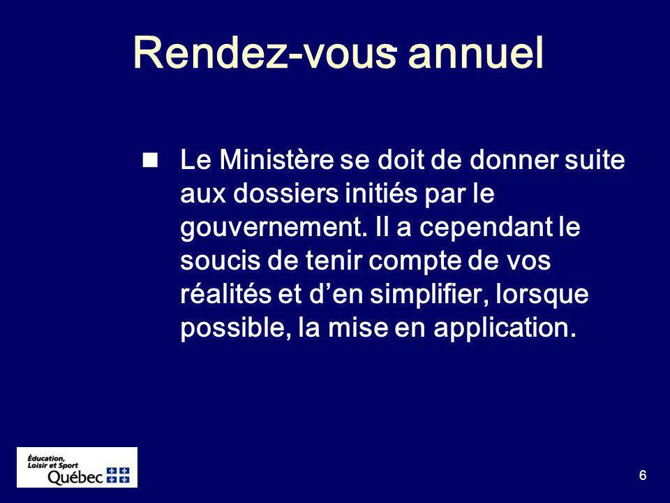 6 Rendez-vous annuel Le Ministère se doit de donner suite aux dossiers initiés par le gouvernement.