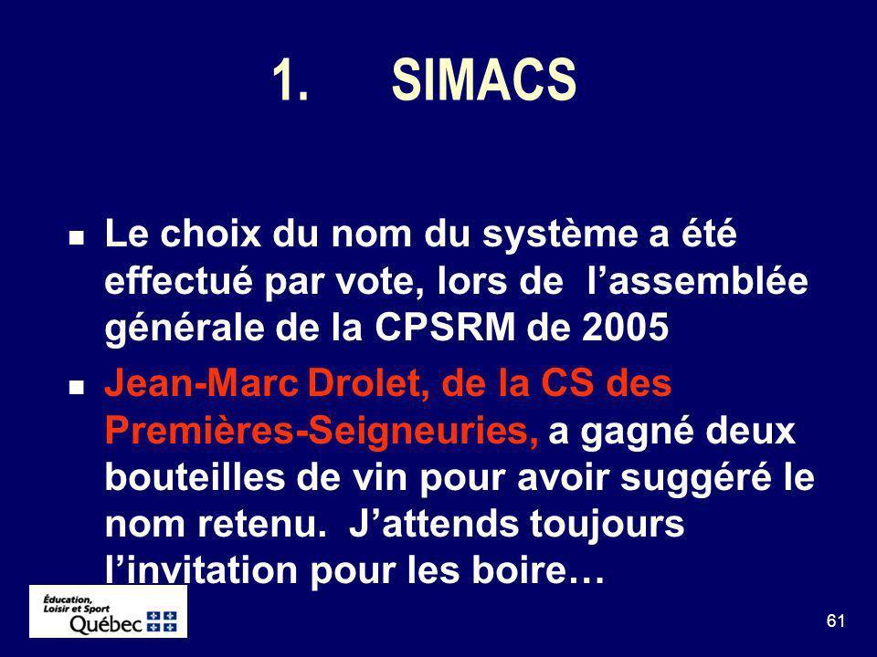 61 1.SIMACS Le choix du nom du système a été effectué par vote, lors de lassemblée générale de la CPSRM de 2005 Jean-Marc Drolet, de la CS des Premières-Seigneuries, a gagné deux bouteilles de vin pour avoir suggéré le nom retenu.