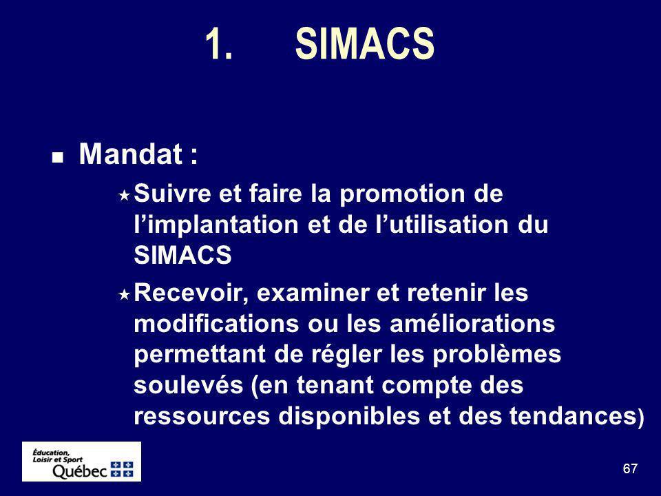 67 1.SIMACS Mandat : Suivre et faire la promotion de limplantation et de lutilisation du SIMACS Recevoir, examiner et retenir les modifications ou les améliorations permettant de régler les problèmes soulevés (en tenant compte des ressources disponibles et des tendances )