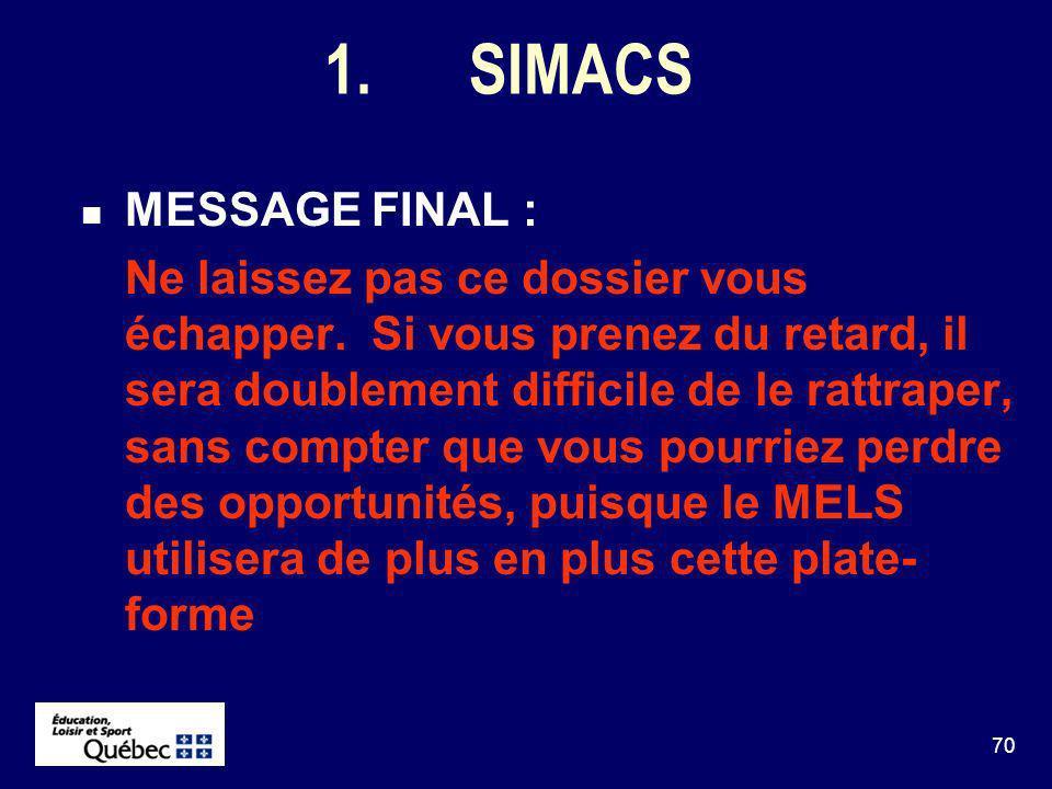 70 1.SIMACS MESSAGE FINAL : Ne laissez pas ce dossier vous échapper.