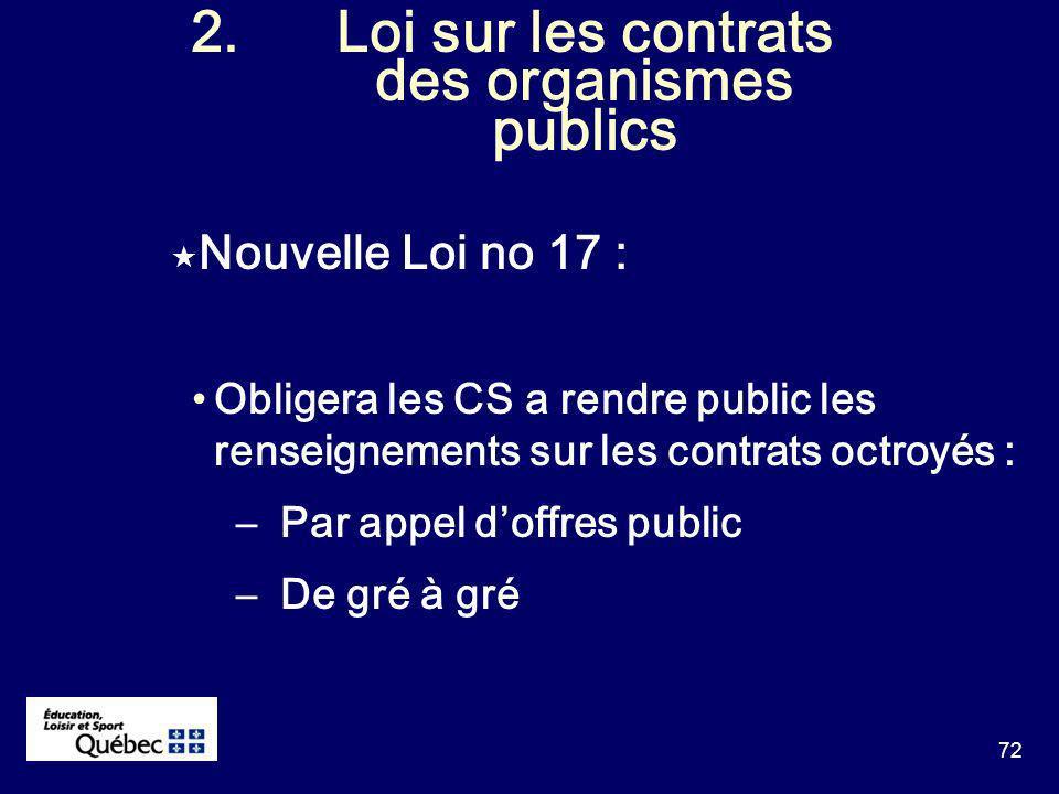 72 2.Loi sur les contrats des organismes publics Nouvelle Loi no 17 : Obligera les CS a rendre public les renseignements sur les contrats octroyés : –Par appel doffres public –De gré à gré