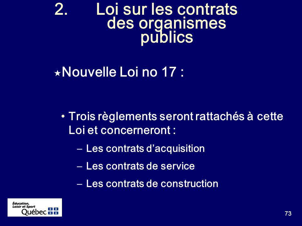 73 2.Loi sur les contrats des organismes publics Nouvelle Loi no 17 : Trois règlements seront rattachés à cette Loi et concerneront : –Les contrats dacquisition –Les contrats de service –Les contrats de construction