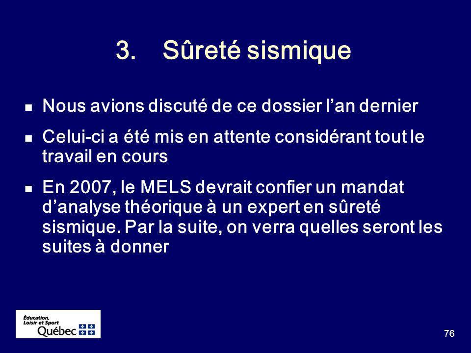 76 3.Sûreté sismique Nous avions discuté de ce dossier lan dernier Celui-ci a été mis en attente considérant tout le travail en cours En 2007, le MELS devrait confier un mandat danalyse théorique à un expert en sûreté sismique.