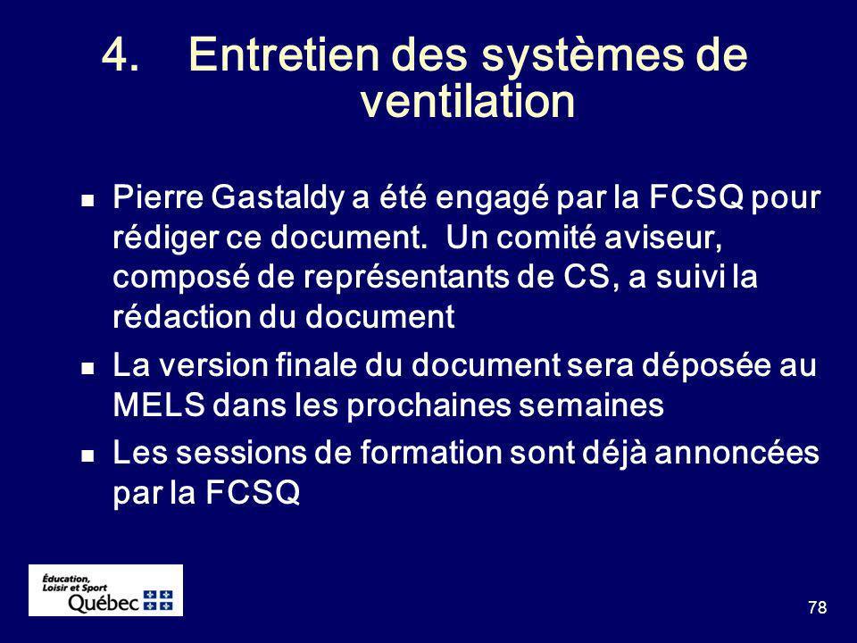 78 4.Entretien des systèmes de ventilation Pierre Gastaldy a été engagé par la FCSQ pour rédiger ce document.