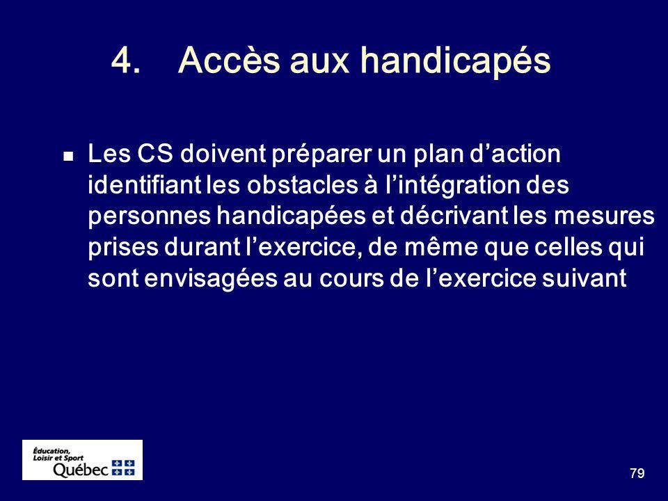79 4.Accès aux handicapés Les CS doivent préparer un plan daction identifiant les obstacles à lintégration des personnes handicapées et décrivant les mesures prises durant lexercice, de même que celles qui sont envisagées au cours de lexercice suivant