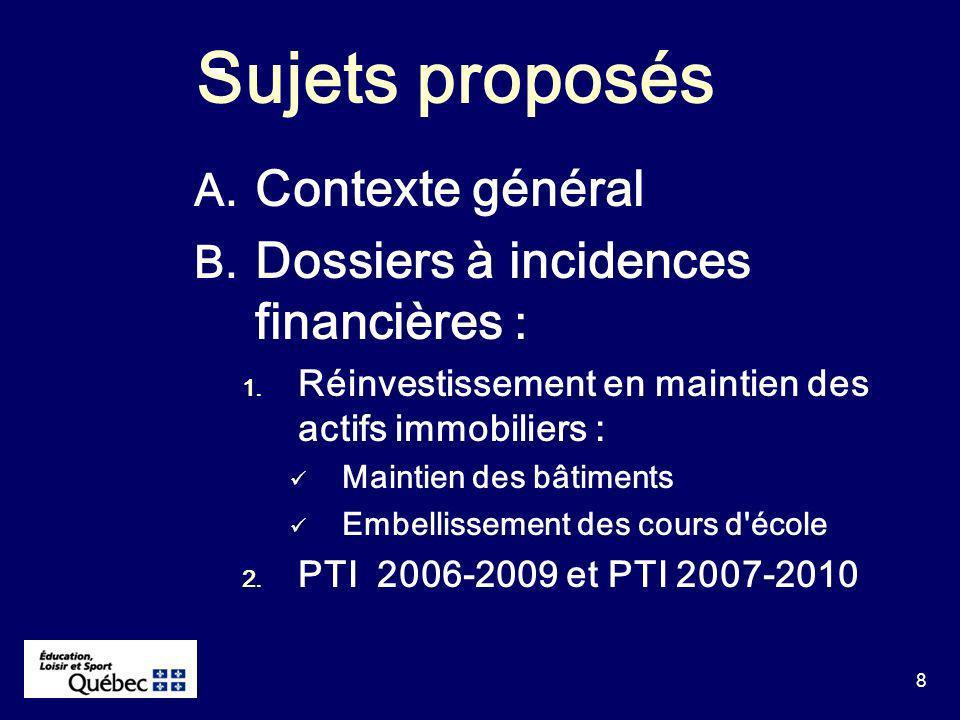 8 Sujets proposés A. Contexte général B. Dossiers à incidences financières : 1.