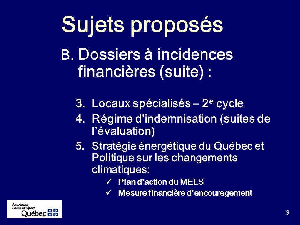 10 Sujets proposés C.Autres dossiers : 1. SIMACS 2.