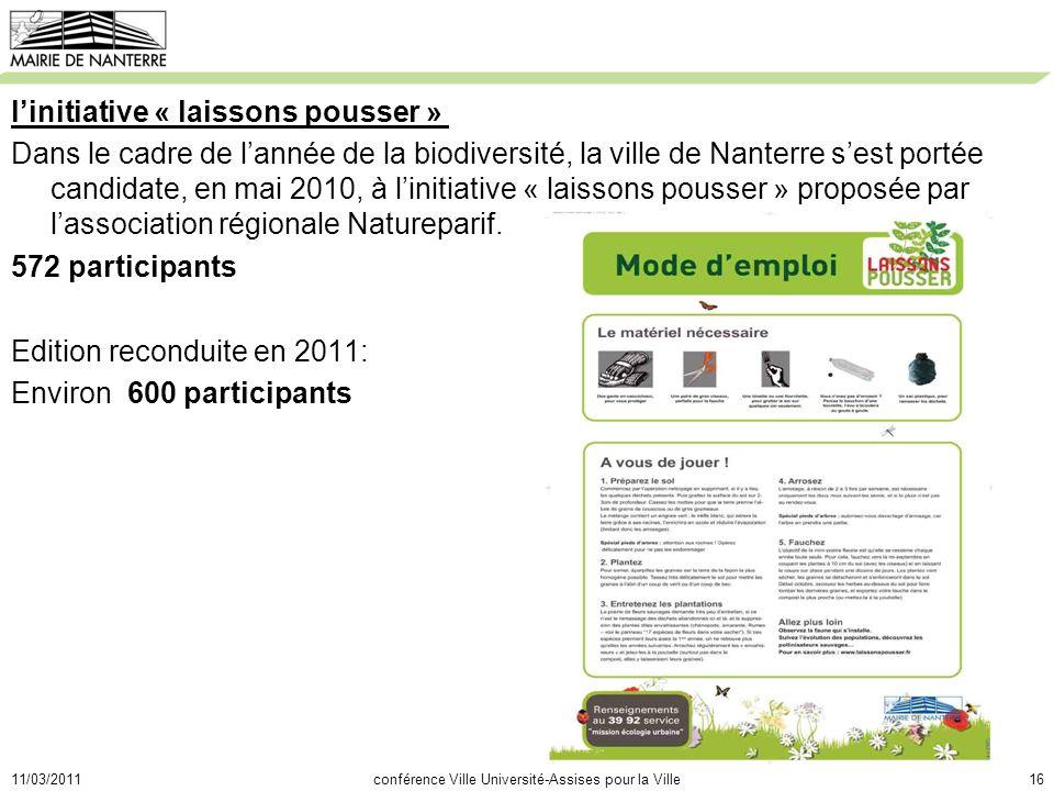 11/03/2011conférence Ville Université-Assises pour la Ville16 linitiative « laissons pousser » Dans le cadre de lannée de la biodiversité, la ville de Nanterre sest portée candidate, en mai 2010, à linitiative « laissons pousser » proposée par lassociation régionale Natureparif.