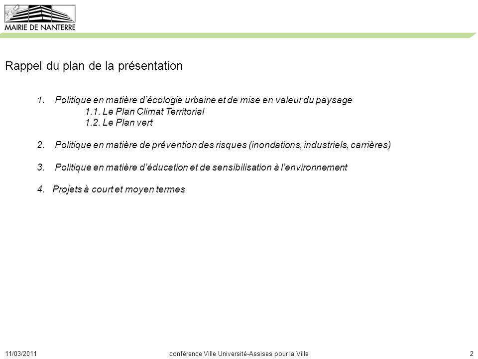 11/03/2011conférence Ville Université-Assises pour la Ville2 Rappel du plan de la présentation 1.Politique en matière décologie urbaine et de mise en valeur du paysage 1.1.