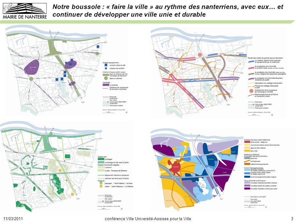 11/03/2011conférence Ville Université-Assises pour la Ville3 Notre boussole : « faire la ville » au rythme des nanterriens, avec eux… et continuer de développer une ville unie et durable