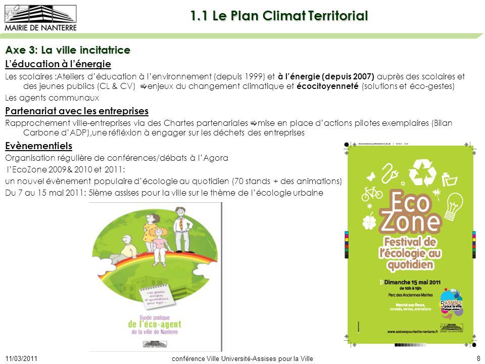 11/03/2011conférence Ville Université-Assises pour la Ville8 1.1 Le Plan Climat Territorial Axe 3: La ville incitatrice Léducation à lénergie Les scolaires :Ateliers déducation à lenvironnement (depuis 1999) et à lénergie (depuis 2007) auprès des scolaires et des jeunes publics (CL & CV) enjeux du changement climatique et écocitoyenneté (solutions et éco-gestes) Les agents communaux Partenariat avec les entreprises Rapprochement ville-entreprises via des Chartes partenariales mise en place dactions pilotes exemplaires (Bilan Carbone dADP),une réfléxion à engager sur les déchets des entreprises Evènementiels Organisation régulière de conférences/débats à lAgora lEcoZone 2009& 2010 et 2011: un nouvel évènement populaire décologie au quotidien (70 stands + des animations) Du 7 au 15 mai 2011: 5ième assises pour la ville sur le thème de lécologie urbaine
