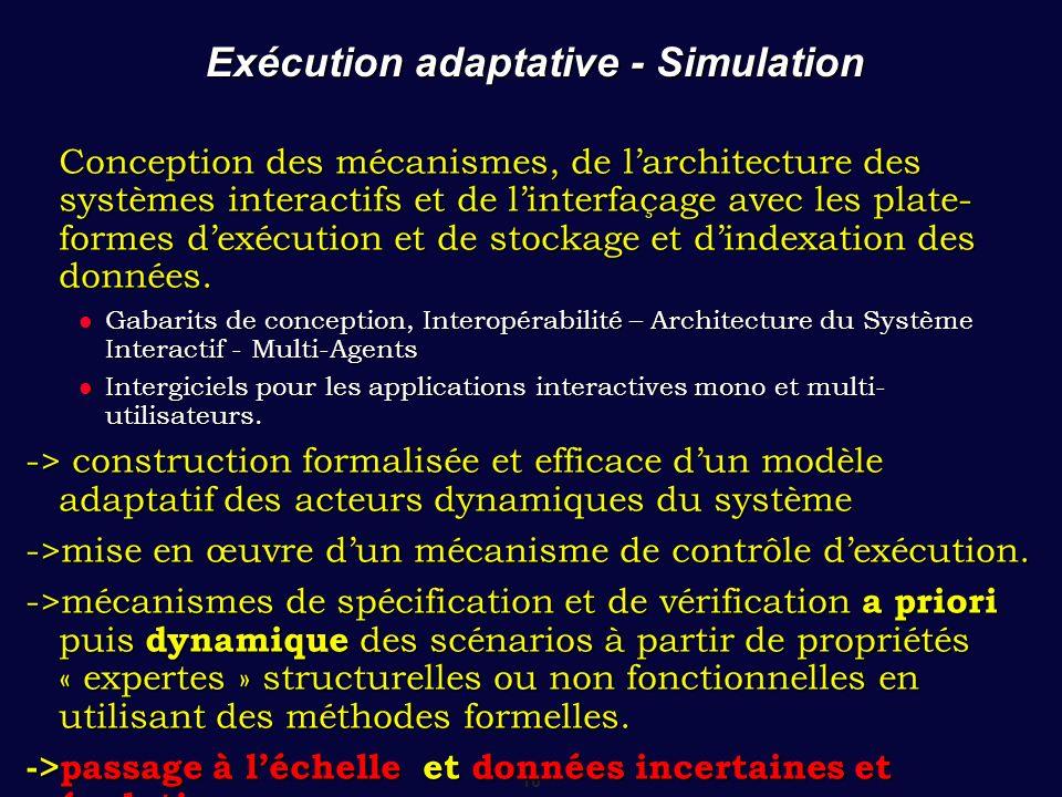 16 Exécution adaptative - Simulation Conception des mécanismes, de larchitecture des systèmes interactifs et de linterfaçage avec les plate- formes dexécution et de stockage et dindexation des données.